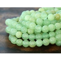 Flower Jade Beads, Celadon Green, 6mm Round