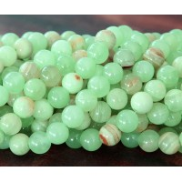 Flower Jade Beads, Celadon Green, 8mm Round