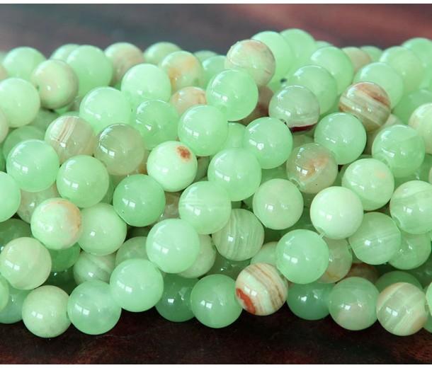 Flower Jade Beads, Celadon Green, 8mm Round