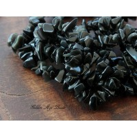 Obsidian Beads, Black, Medium Chip