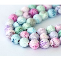Fire Crackle Agate Beads, Light Candy Multicolor, 10mm Faceted Round
