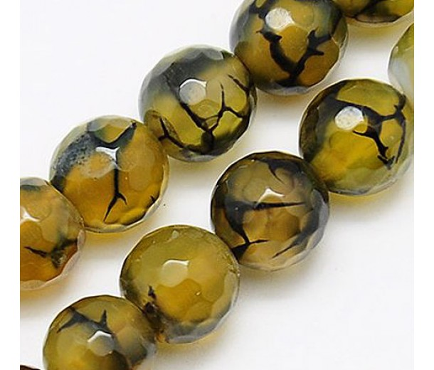 Fire Crackle Agate Beads, Olive Green and Brown, 8mm Faceted Round