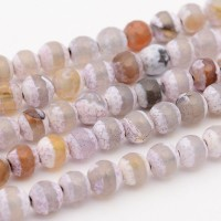 Dzi Agate Beads, Lilac Stripe, 8mm Faceted Round