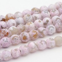 Dzi Agate Beads, Lilac Moon and Stars, 8mm Faceted Round