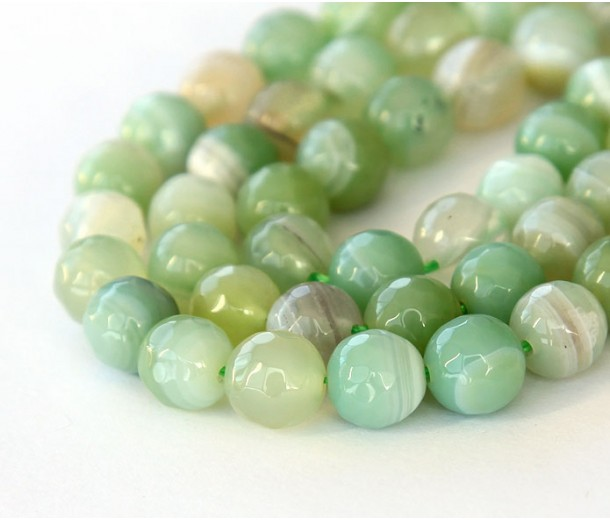 Striped Agate Beads, Celadon Green, 8mm Faceted Round