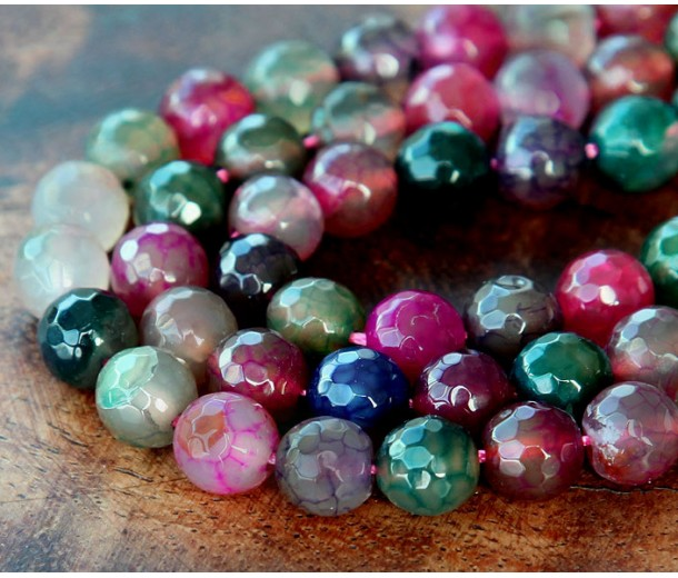 Crackle Agate Beads, Multicolor, 8mm Faceted Round