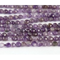 Amethyst Beads, Medium Purple, 4mm Faceted Round