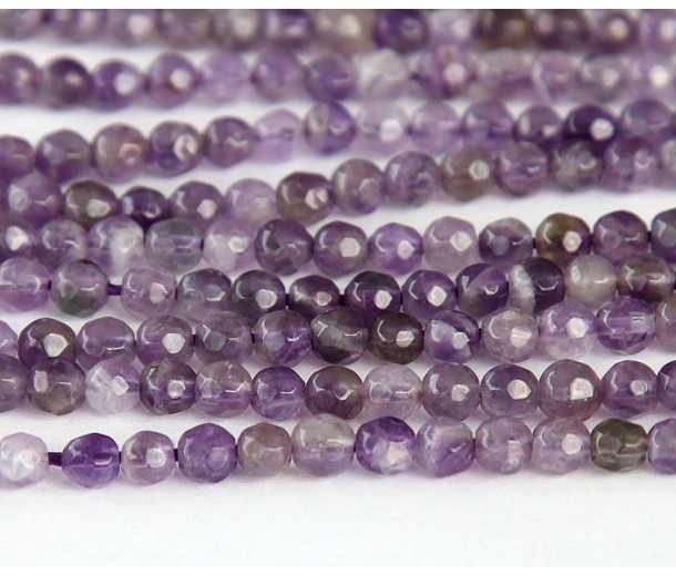 Amethyst Beads, Natural, Medium Purple, 4mm Faceted Round