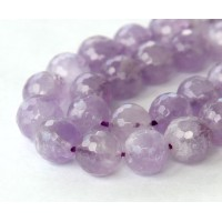 Amethyst Beads, Light Purple, 10mm Faceted Round