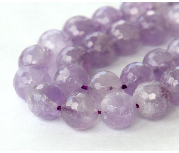 Amethyst Beads, Natural Light Purple, 10mm Faceted Round