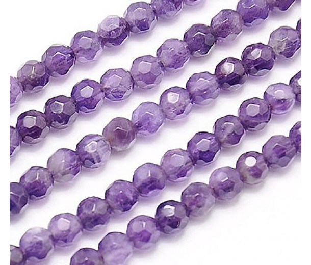 Amethyst Beads, Light Purple, 4mm Faceted Round