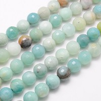 Amazonite Beads, Multicolor, 8mm Faceted Round