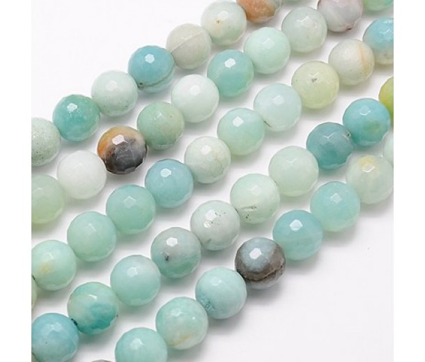 Amazonite Beads, Natural Multicolor, 8mm Faceted Round