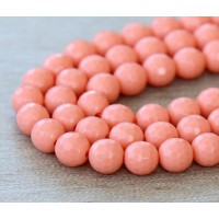 Imitation Turquoise Beads, Coral, 8mm Faceted Round