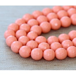 Imitation Turquoise Beads, Coral, 6mm Faceted Round