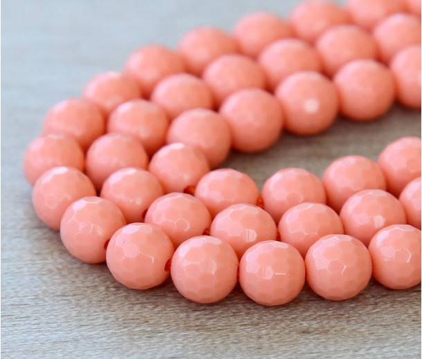 Imitation Turquoise Beads, Coral, 6mm Faceted Round, 15 inch strand