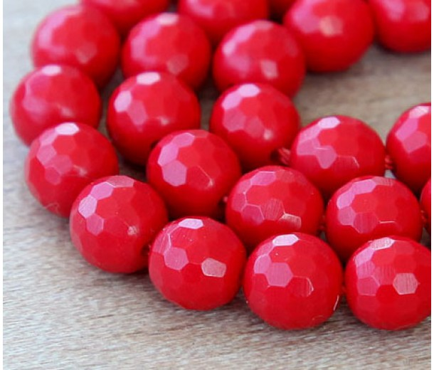 Imitation Turquoise Beads, Red, 8mm Faceted Round