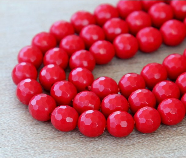 Imitation Turquoise Beads, Red, 6mm Faceted Round