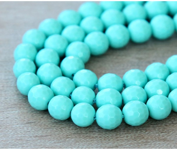 Imitation Turquoise Beads, Light Teal, 6mm Faceted Round