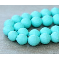 Imitation Turquoise Beads, Light Blue, 8mm Faceted Round