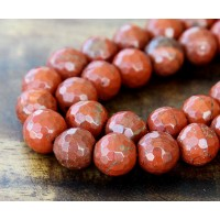 Red Jasper Beads, 10mm Faceted Round