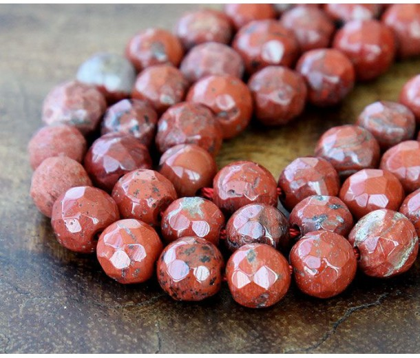 Red Jasper Beads, 8mm Faceted Round
