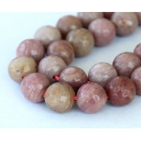 Rhodonite Beads, 12mm Faceted Round