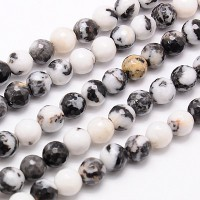 Mexican Zebra Jasper Beads, Natural, 8mm Faceted Round