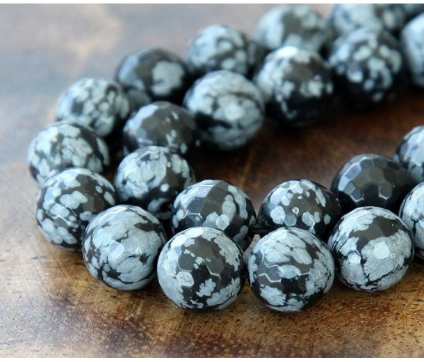 Snowflake Obsidian Beads, 10mm Faceted Round