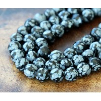 Snowflake Obsidian Beads, 6mm Faceted Round