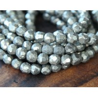 Pyrite Beads, 4mm Faceted Round