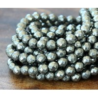Pyrite Beads, 6mm Faceted Round