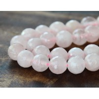 Rose Quartz Beads, 8mm Faceted Round