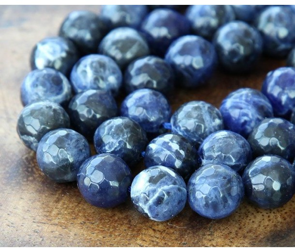 Sodalite Beads, 8mm Faceted Round