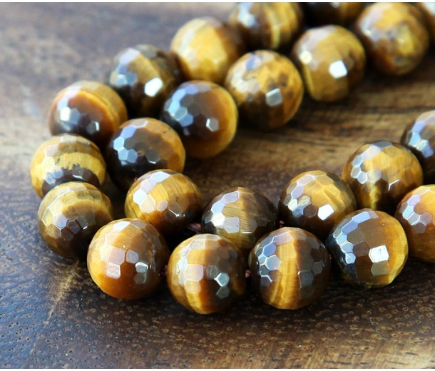 Tiger Eye Beads, Natural, 10mm Faceted Round