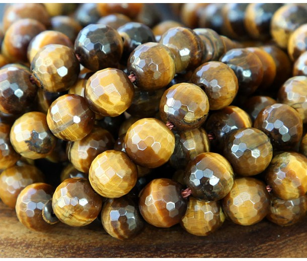 Tiger Eye Beads, Natural, 8mm Faceted Round