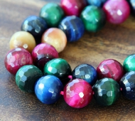Tiger Eye Beads, Multicolor, 10mm Faceted Round
