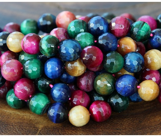 Tiger Eye Beads, Multicolor, 8mm Faceted Round