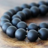 Black Agate Beads, Frosted, 10mm Round