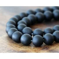 Black Agate Beads, Matte, 12mm Round