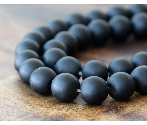 Black Agate Beads, Matte, 10mm Round