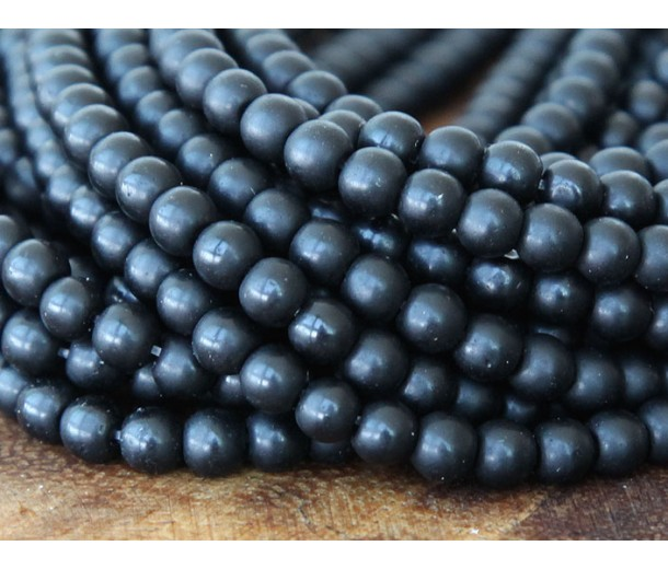 Black Agate Beads, Matte, 4mm Round
