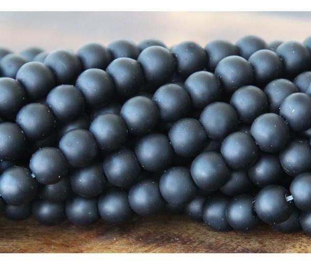 Black Agate Beads, Matte, 6mm Round, 15 Inch Strand