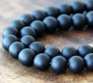 Black Agate Beads, Frosted, 8mm Round
