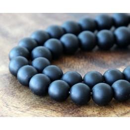 Black Agate Beads, Matte, 8mm Round