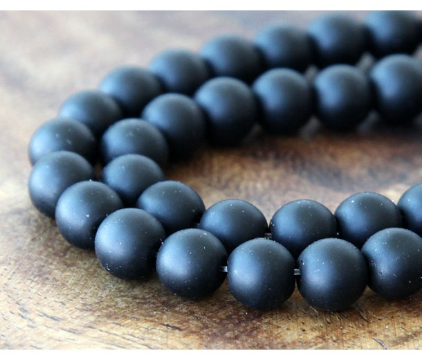 Black Agate Beads, Matte, 8mm Round