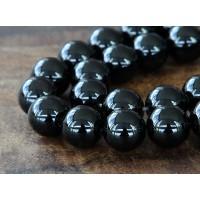 Black Agate Beads, 12mm Round