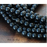 Black Agate Beads, 4mm Round