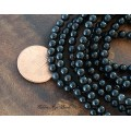 Black Agate Beads, 4mm Round, 15 Inch Strand