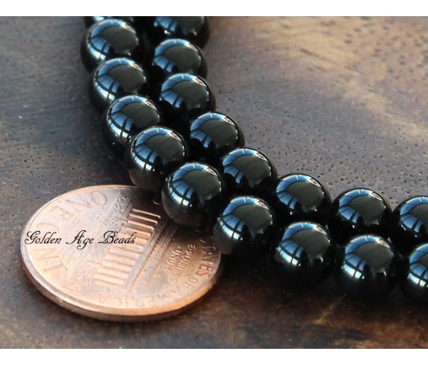Black Agate Beads, 6mm Round, 15 Inch Strand